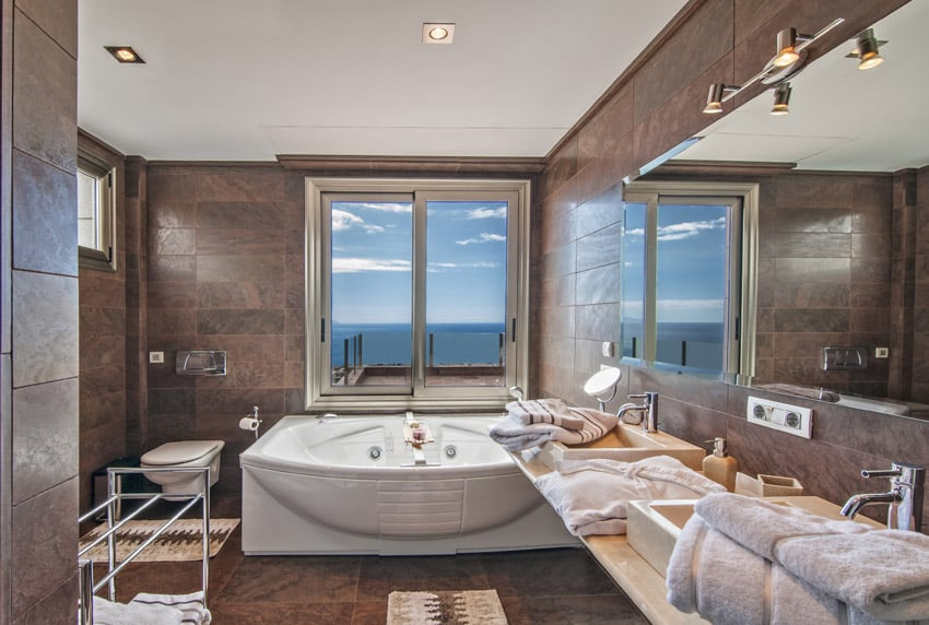Oceanview jetted bathtub in home