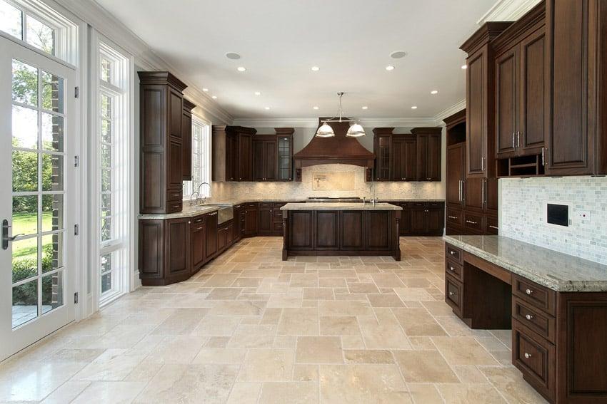 Over sized luxury kitchen dark wood cabinetry