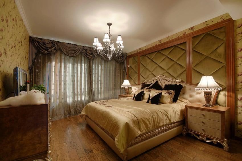 Oversized plush headboard in master bedroom