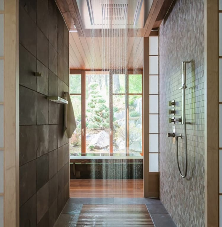 Oversized rain fall shower with outdoor view