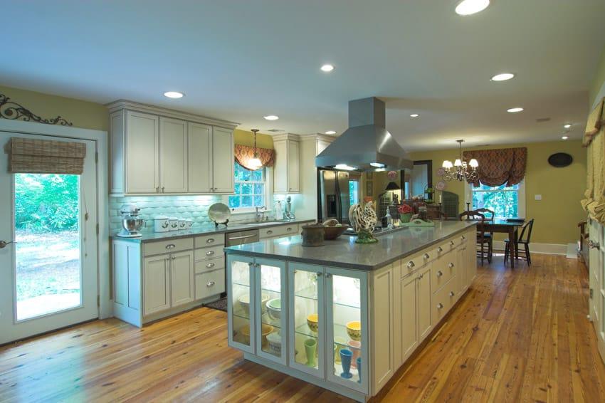 Rectangular kitchen island with oven glass windows