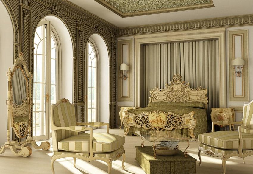 Regal design master bedroom in light yellow