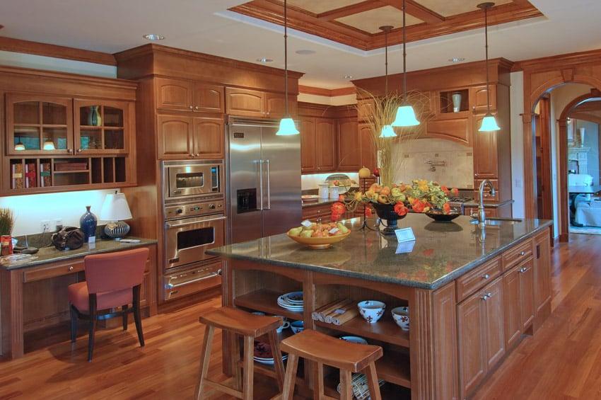 Rich wood tone luxury kitchen