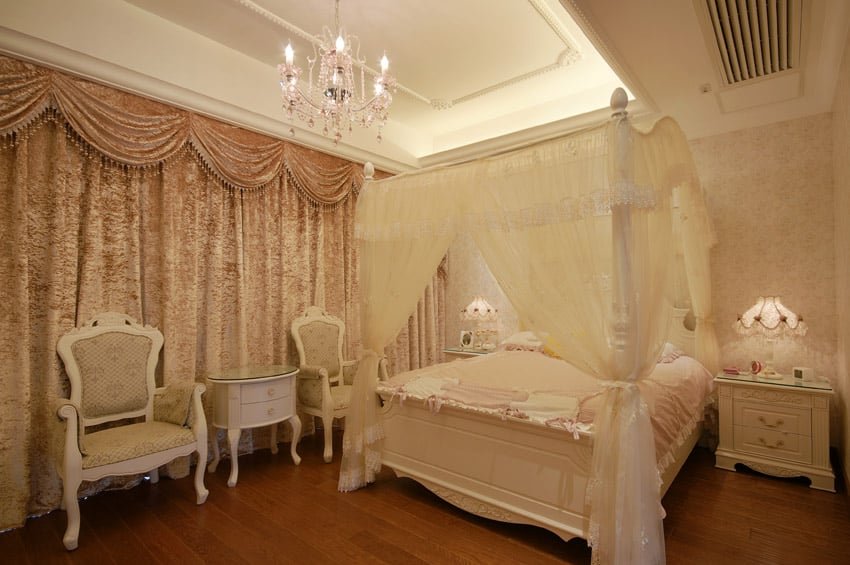 Romantic designer bedroom with canopy bed
