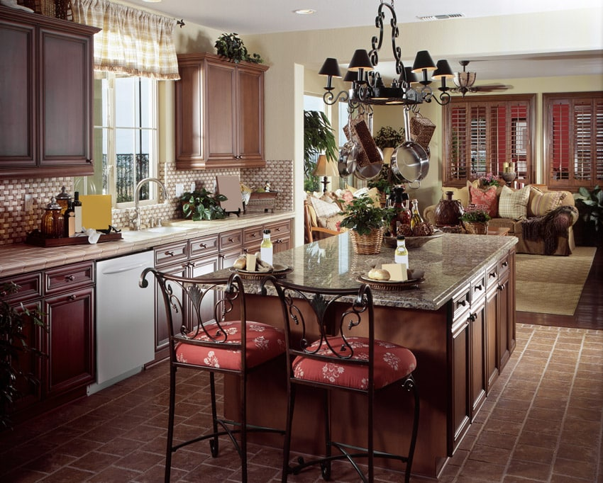 Rustic decorative wood kitchen with eat in dining