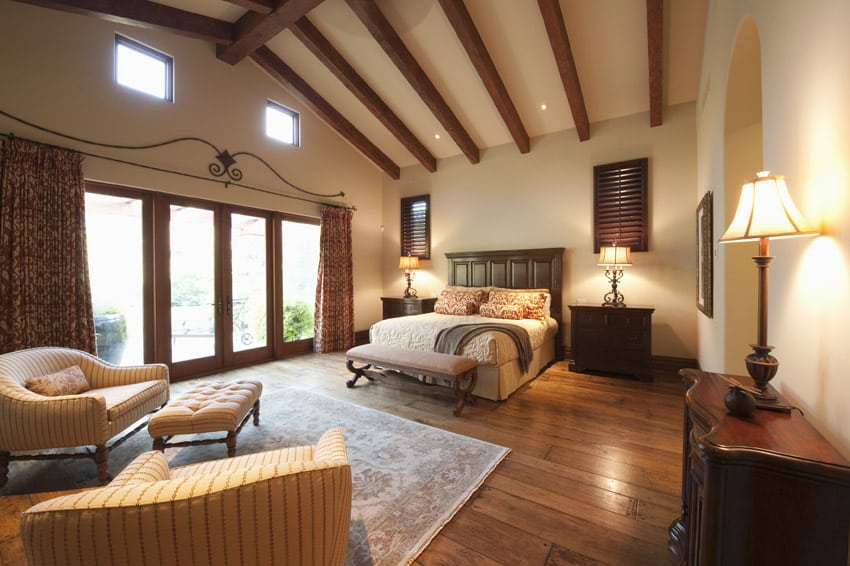 Tall vaulted ceiling master bedroom