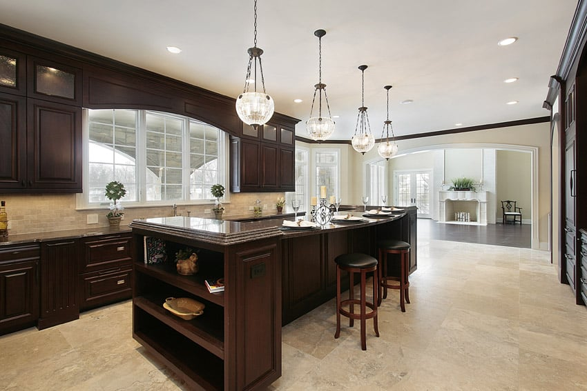 Unique custom shaped kitchen island in luxury home
