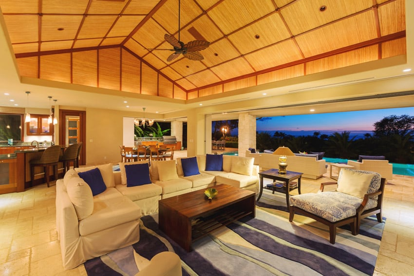 Amazing living room at tropical home with ocean view