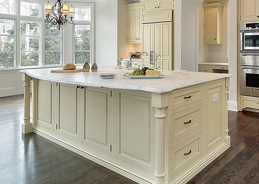 beautiful white marble kitchen island