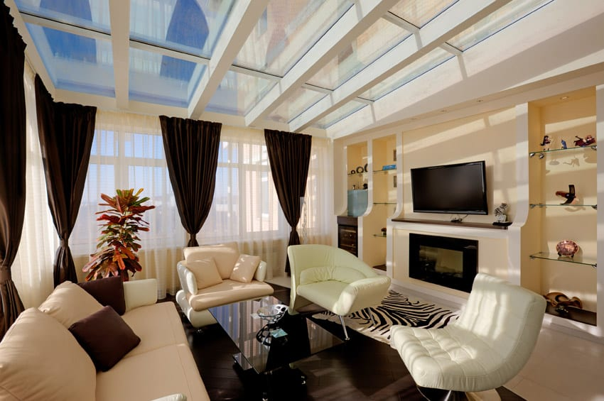 Bright living room with skylight windows
