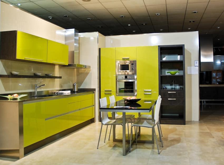 Bright yellow modern kitchen