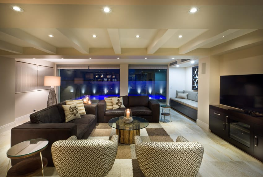 Custom living room design in high end home