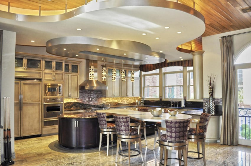 Custom modern kitchen with stylish ceiling design