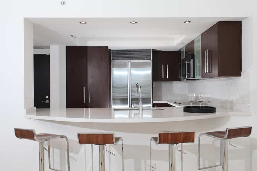 Eat in modern kitchen with white island