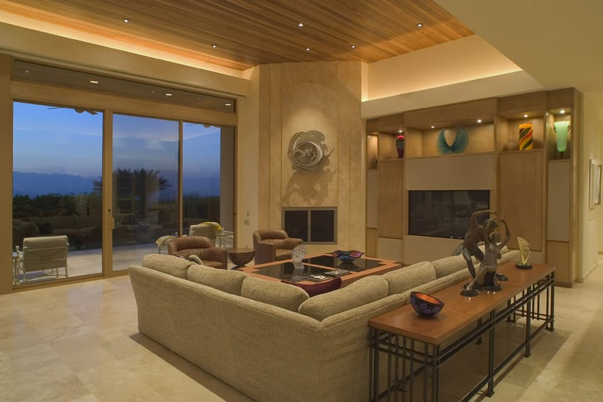 Elegant living room with tray ceiling and views