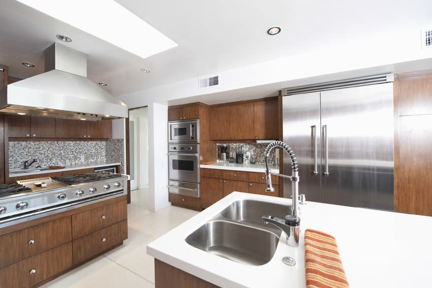 High end modern kitchen with wood cabinets