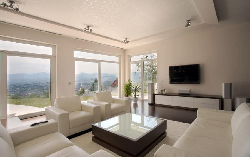 Living room with beautiful window views and modern furnishings