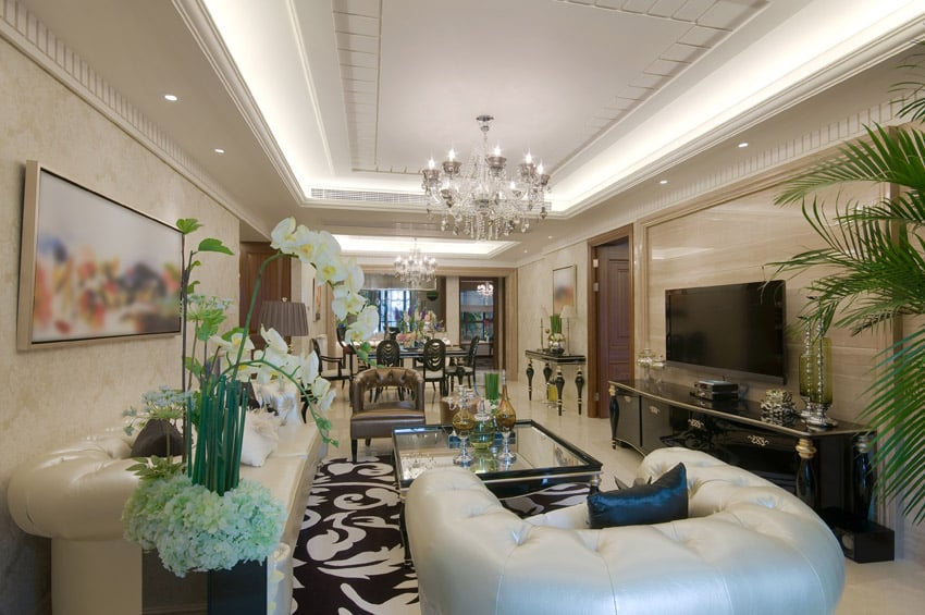 Luxury living room with white couches and black cabinet