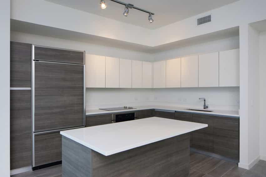 Minimal modern kitchen with no hardware
