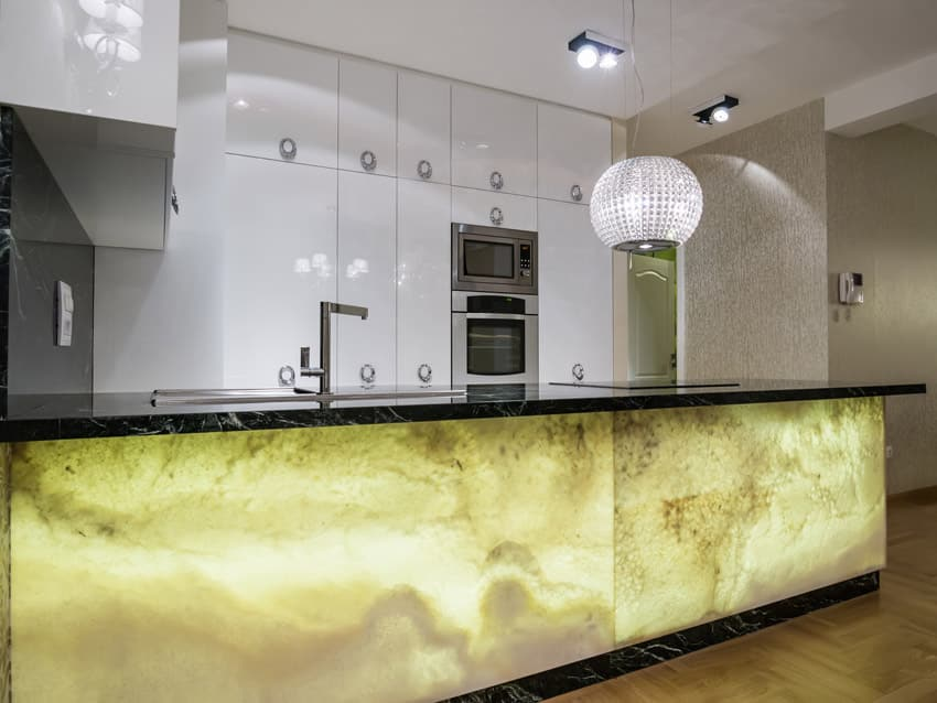 Modern kitchen with custom yellow and black island