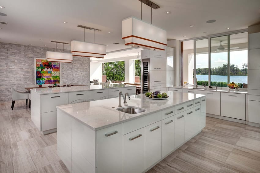 Modern kitchen with lake view brick accent walls