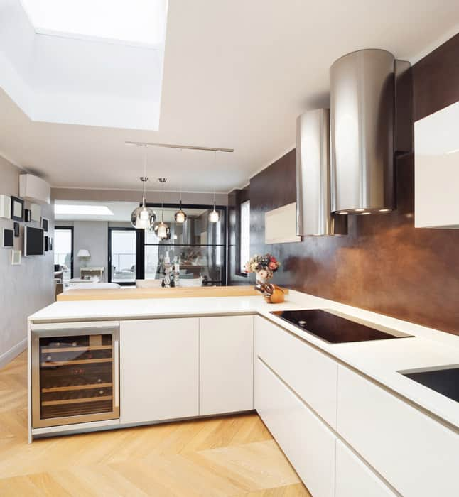 Modern kitchen with white laminate counters