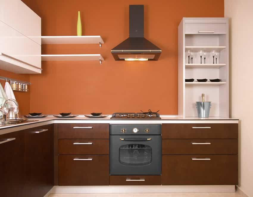 Orange painted modern kitchen
