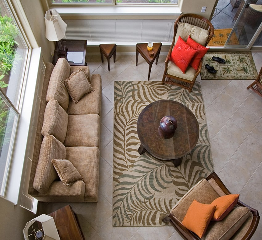 Overhead view of living room design