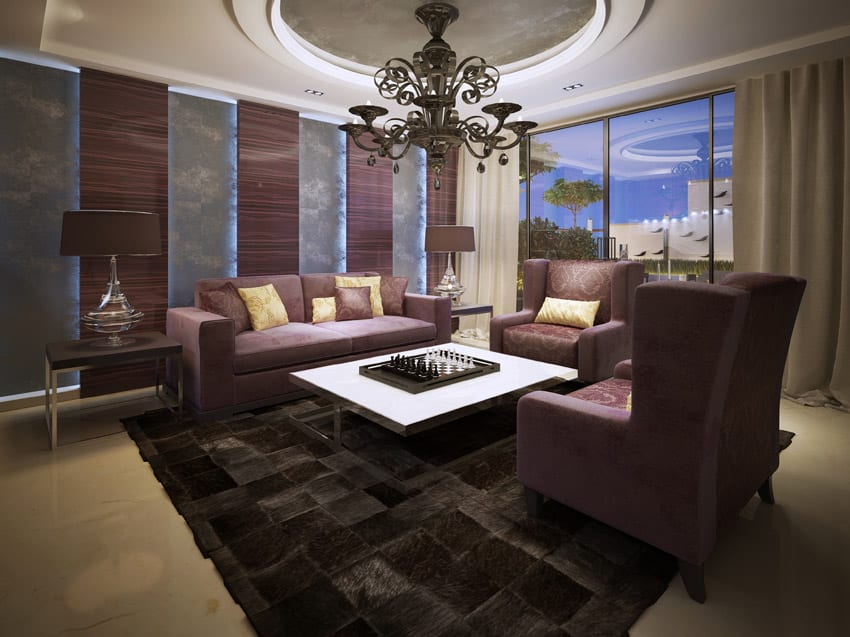Rich living room design with round tray ceiling