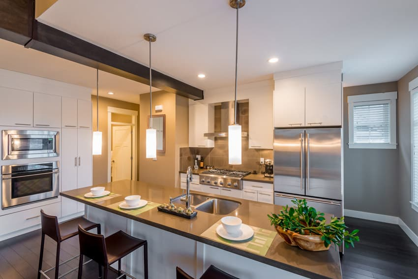 Contemporary kitchen island with dining space
