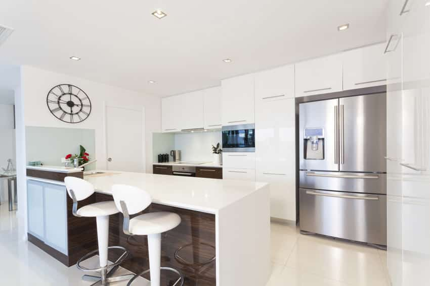 Small white modern kitchen with island for dining