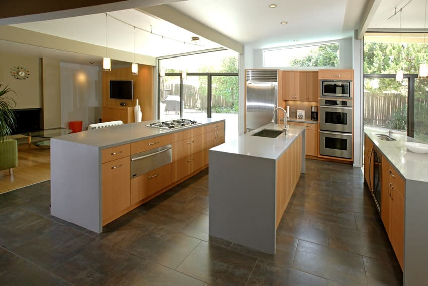 Three line modern kitchen with open plan layout