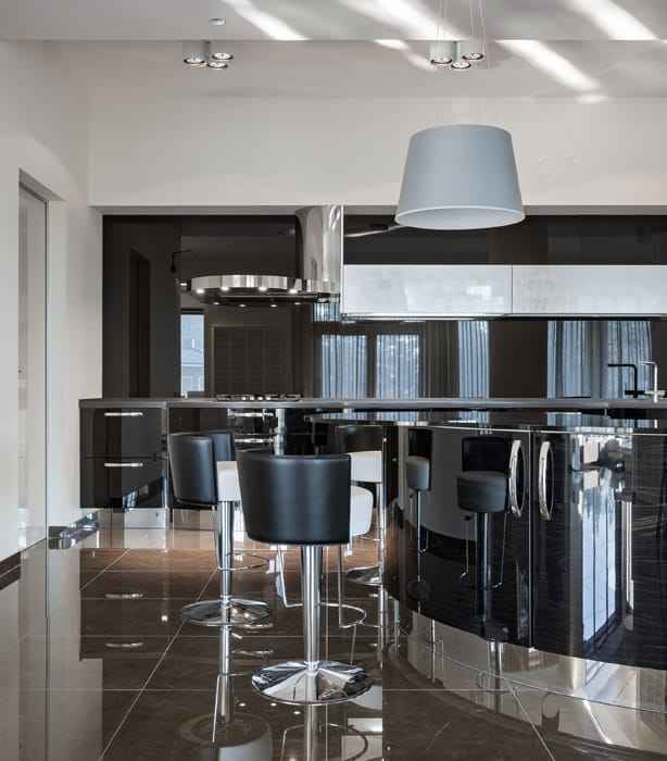 Ultra modern kitchen with polished black theme