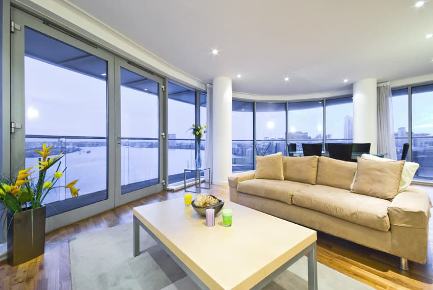 Waterfront views from living room