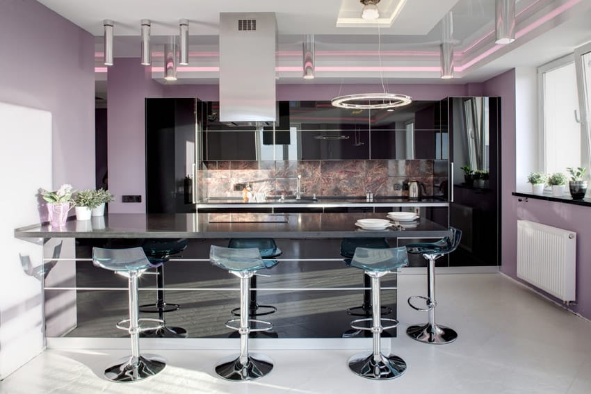 High gloss modern kitchen with purple paint