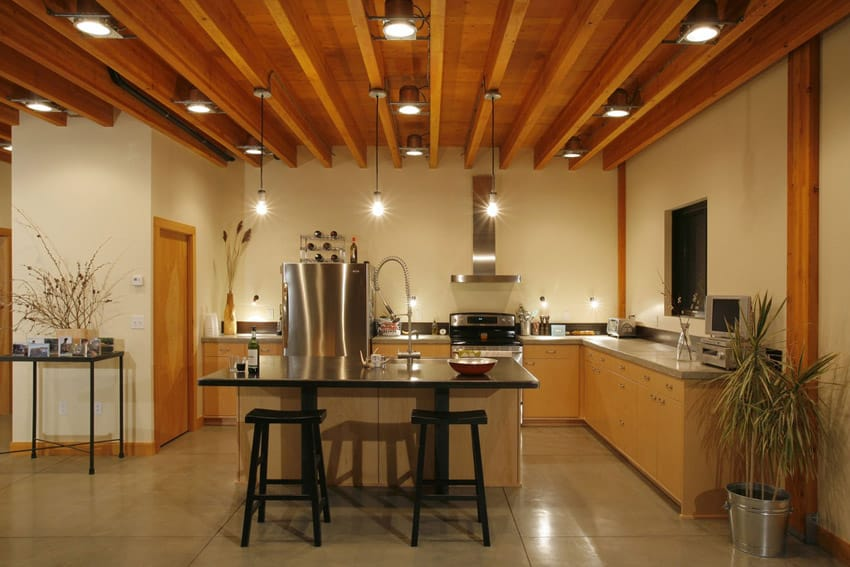 Wood beamed open kitchen
