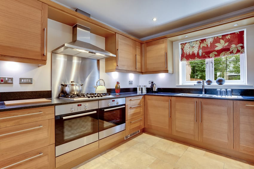 Wood grain cabinetry in modern kitchen