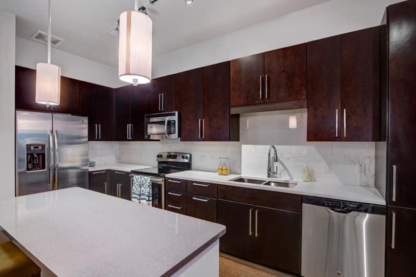 Laminate finish wood modern kitchen with round tube lights