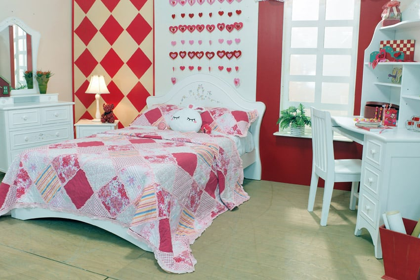 Bright cute girls room with pink red and white theme