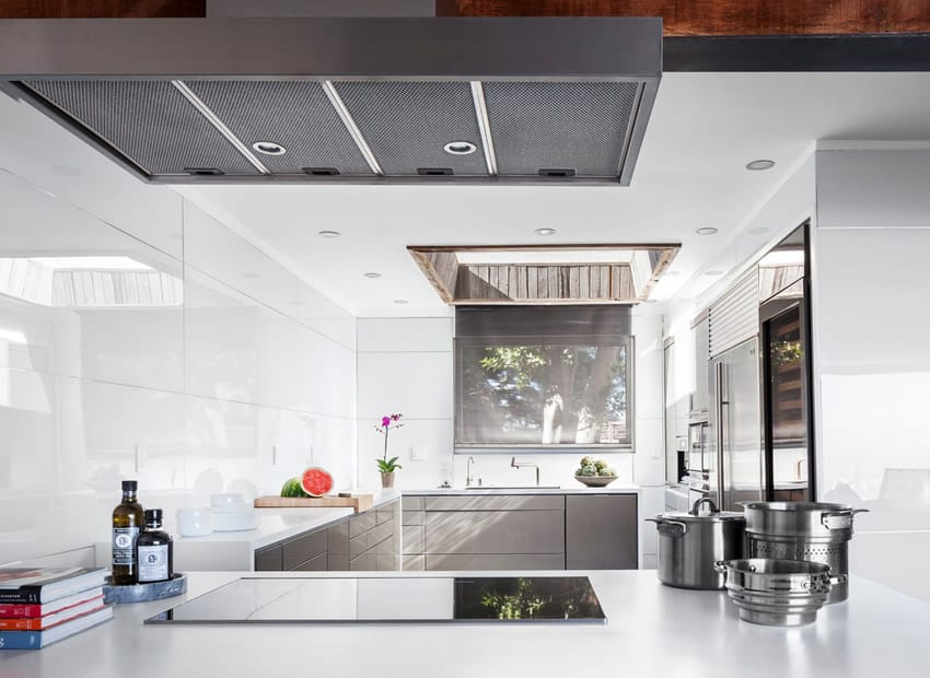 Closed off modern kitchen design in white