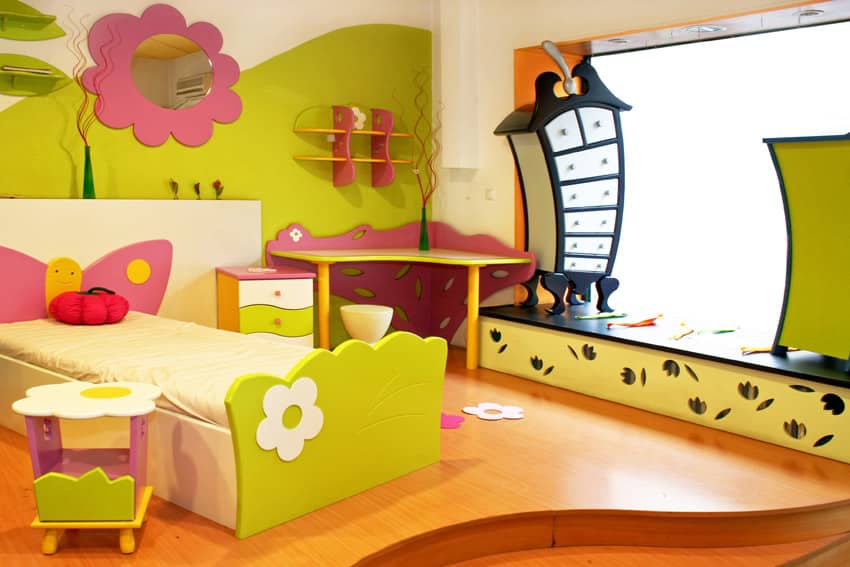 Colorful green girls bedroom