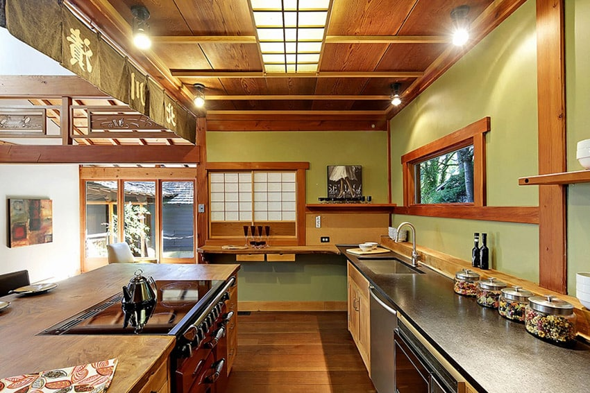 Craftsmans style asian themed kitchen with wood counter and flooring