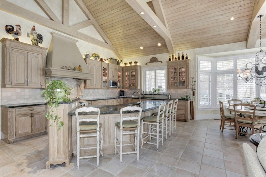 Decorative kitchen island with light wood and rustic design
