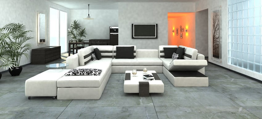 Expansive modern living space with large white sectional couch