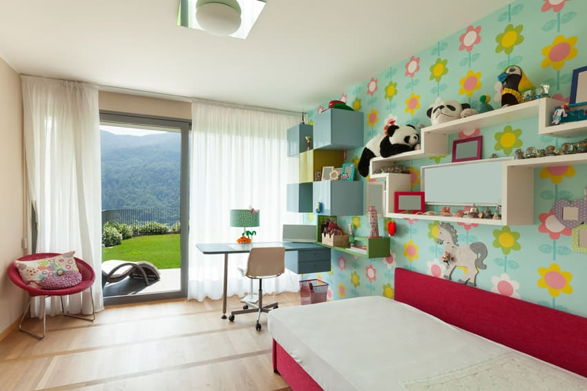 Fun design girls room with slider door to outside