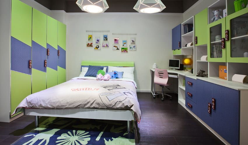 Green blue kids bedroom