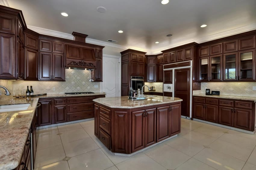 Kitchen island with bordeaux dream granite
