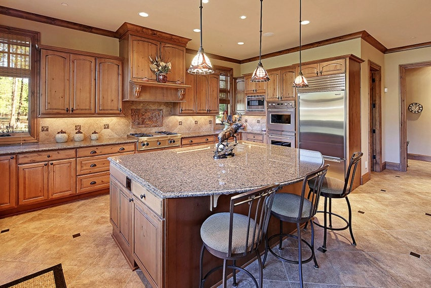 Kitchen island with perla granite