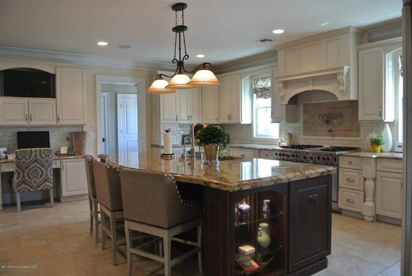 Large luxury kitchen island with under counter storage