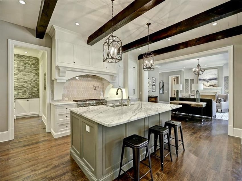 Luxury kitchen island with carrara white marble counter